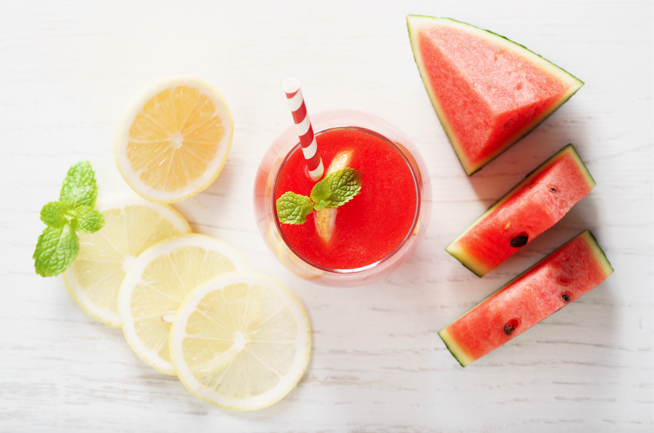 watermelon and lemon with a healthy drink