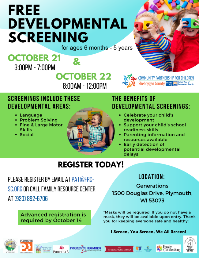 September 21 Screening Event 3 PM to 7 PM and October 22 8 AM to 12 PM for ages 6 months to 5 years.