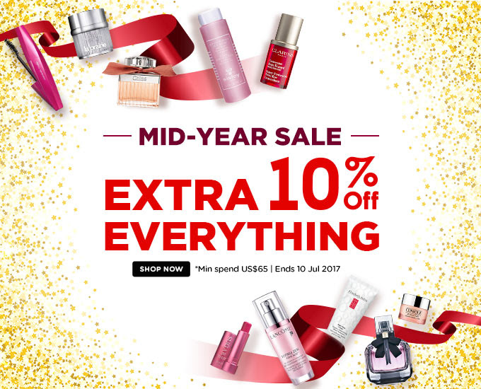 MASSIVE MID-YEAR SALE! Extra 10% Off Everything! *Min spend US$65 | Ends 10 Jul 2017