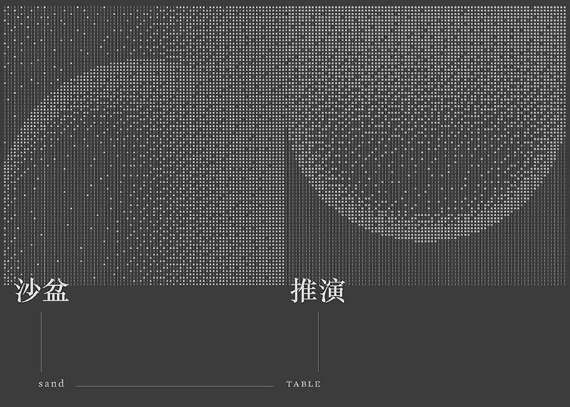 An artwork by Hong Kong Design History Network. A gradient image of two arced lines is made up of lots of Chinese characters.