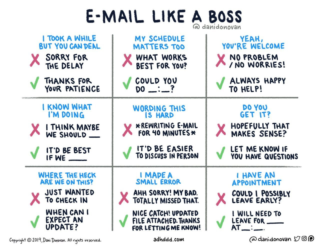 """I've been working on being more conscious of how I write emails, and made this handy printable guide! I have a bad habit of overusing exclamation points, emojis, and qualifiers like """"just† and """"possibly† to sound extra-friendly and non-threatening in..."""