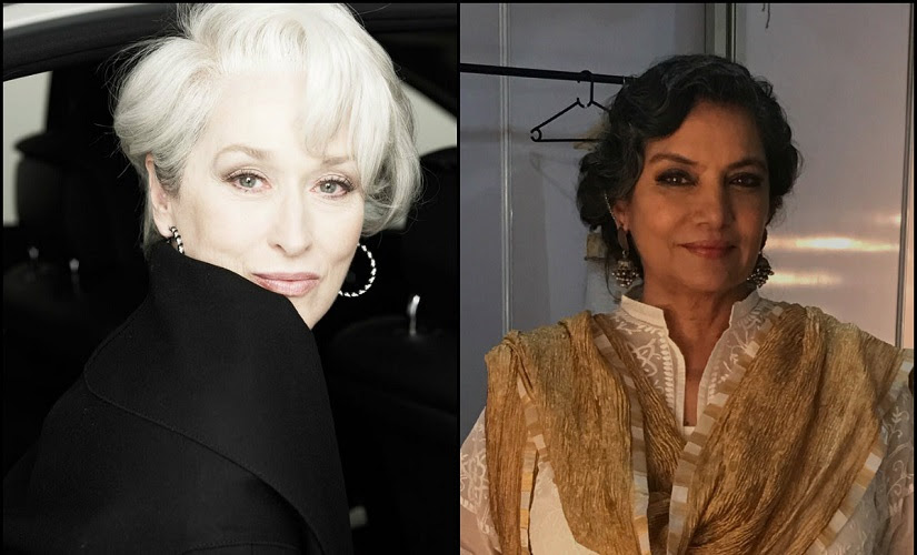 Meryl Streep and Shabana Azmi. Images from Facebook and Twitter