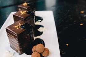 The seven-layer dark chocolate whiskey cake at Guy Fieri's Vegas Kitchen & Bar