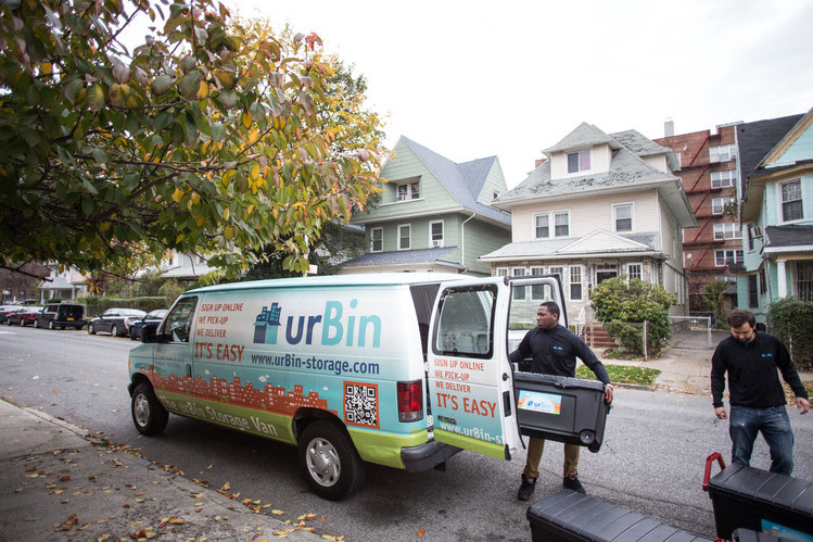 UrBin storage owner Josh Ernst does a pick-up/drop-off in Lefferts Gardens, Brookly.