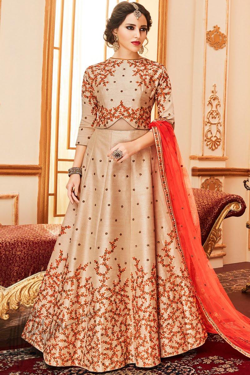 Peach Taffeta Silk Floor Length Anarkali Suit