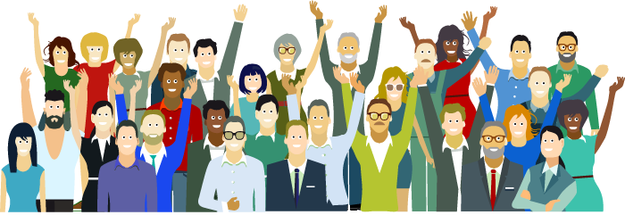 illustration of diverse group of people cheering