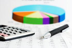 pie chart, calculator, pen, spreadsheet