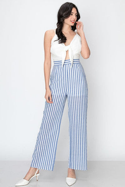 Stripe jumpsuit with tie front