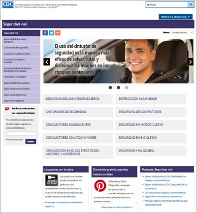 Spanish Motor Vehicle Safety website screenshot