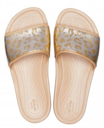 crocs sloane graphic metallic slide w