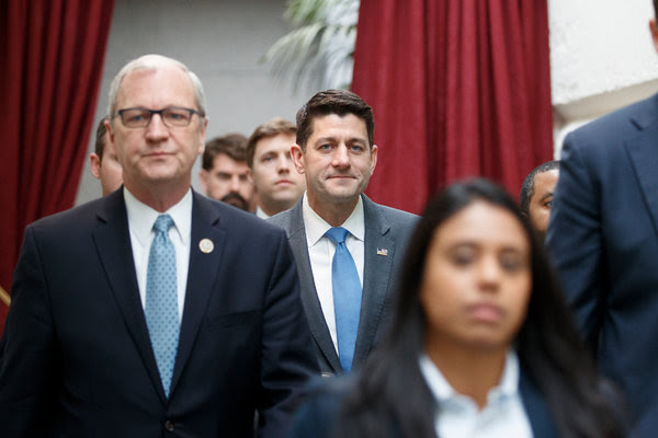 Speaker Paul D. Ryan arrived for a meeting on Capitol Hill Wednesday.