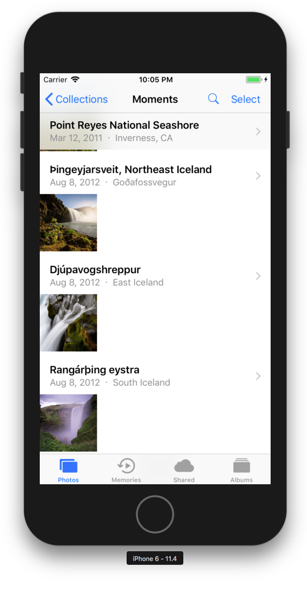The Photos app with search icon