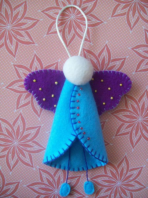 There is no pattern for this beaded angel ornament by LookHappyShop on Flickr. The crafter may have used 3 strands of floss for her embroidery. I cannot tell.