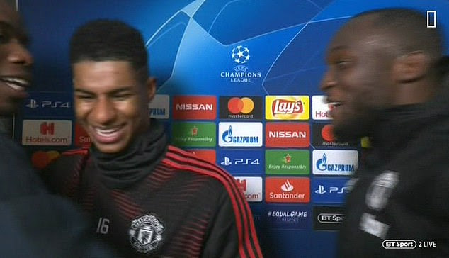 Marcus Rashford interrupted the interview with Romelu Lukaku, and Pogba [BT Sport]