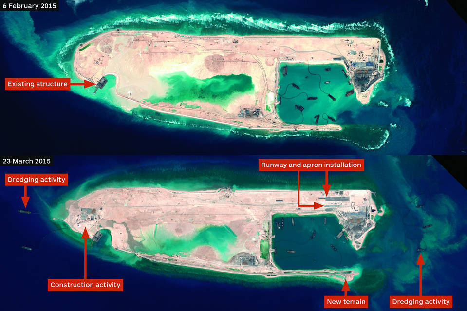 Satellite imagery of runway construction at Fiery Cross Reef in the Spratly Islands dated Feb. 6 and March 23 by Airbus Defence and Space.
