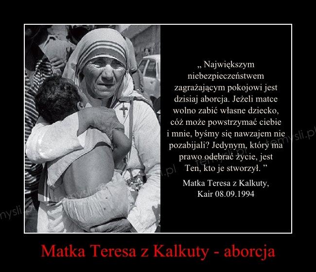 Matka Teresa z Kalkuty - aborcja