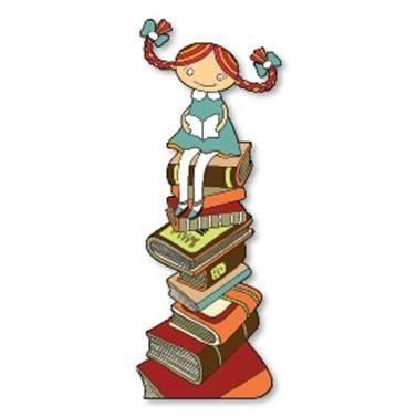 איור ילדה יושבת על ספרים