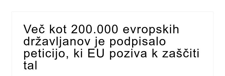 Več kot 200.000 evropskih državljanov je podpisalo peticijo, ki EU poziva k zaščiti tal