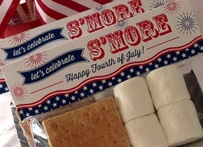 4th of July Smores Bag Toppers, PRINTABLE, 2 Sizes, July 4th Favors