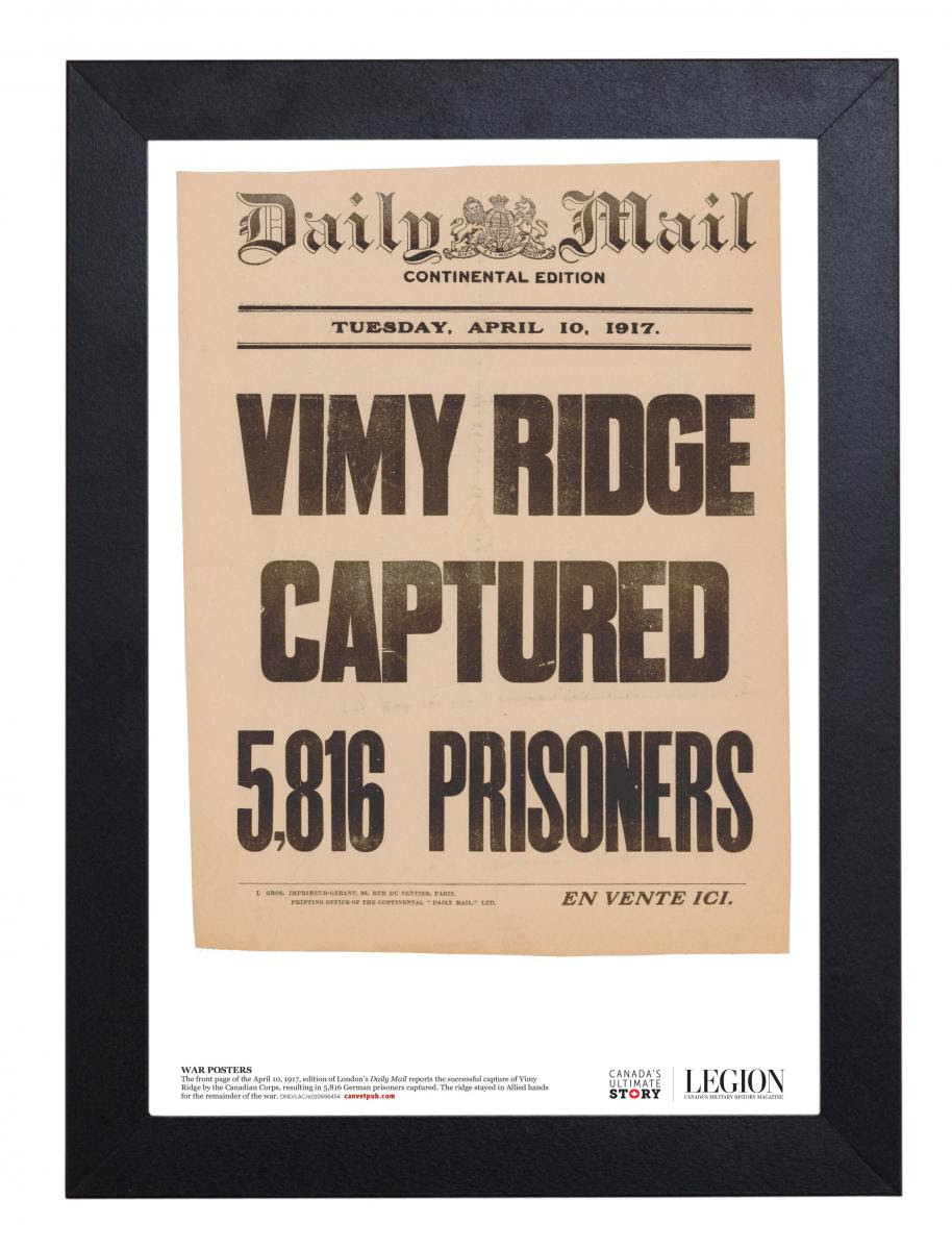 Vimy Ridge Captured! New Vintage War Poster!