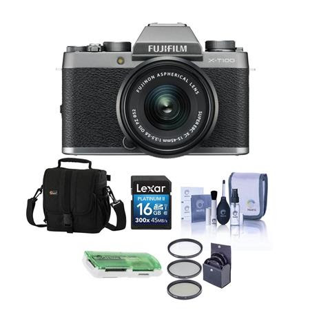 X-T100 Mirrorless Digital Camera, Silver with XC15-45mmF3.5-5.6 OIS PZ Lens - Bundle With