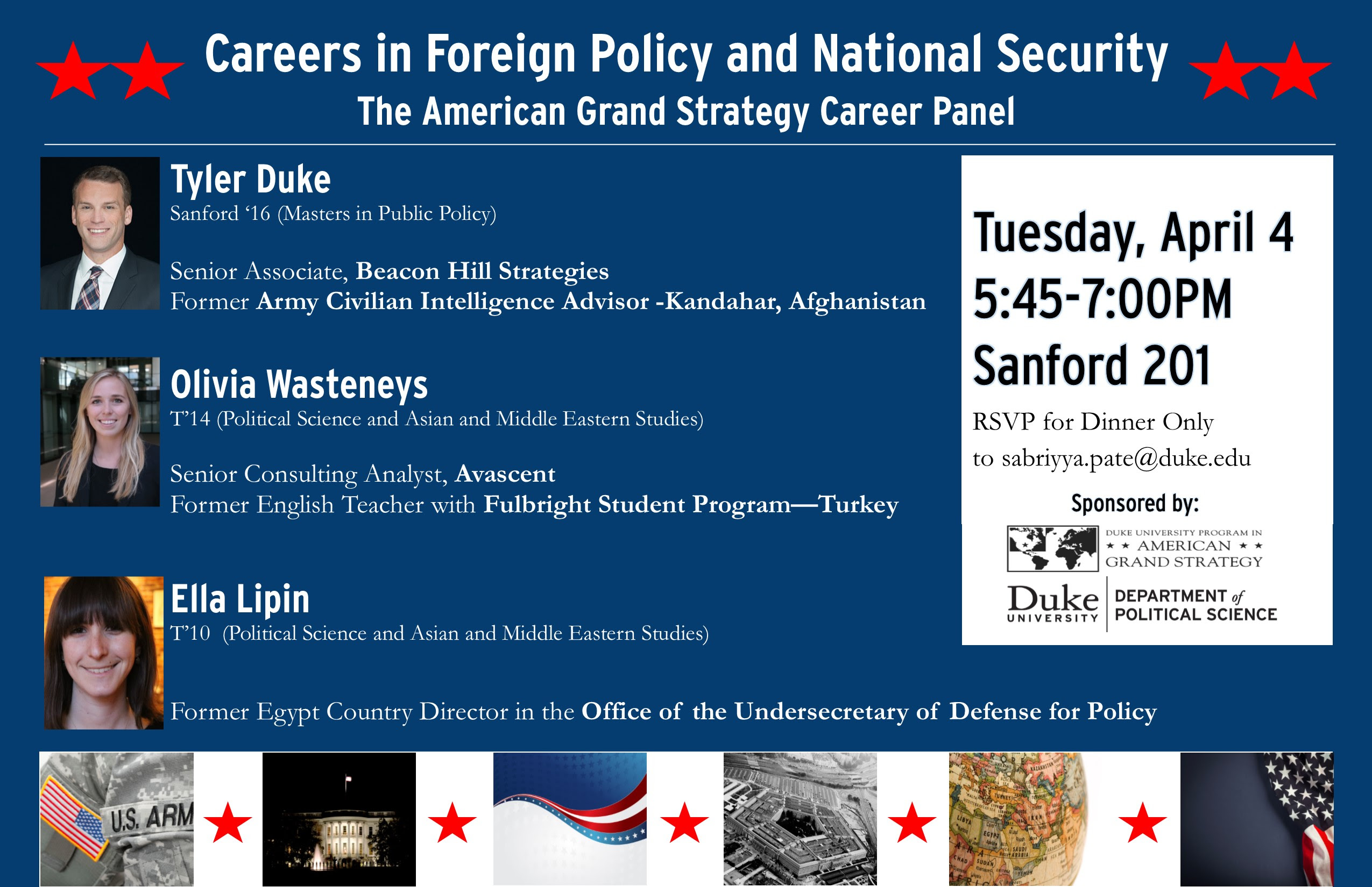Careers in Foreign Policy & National Security @ Sanford 201, Sanford School of Public Policy | Durham | North Carolina | United States