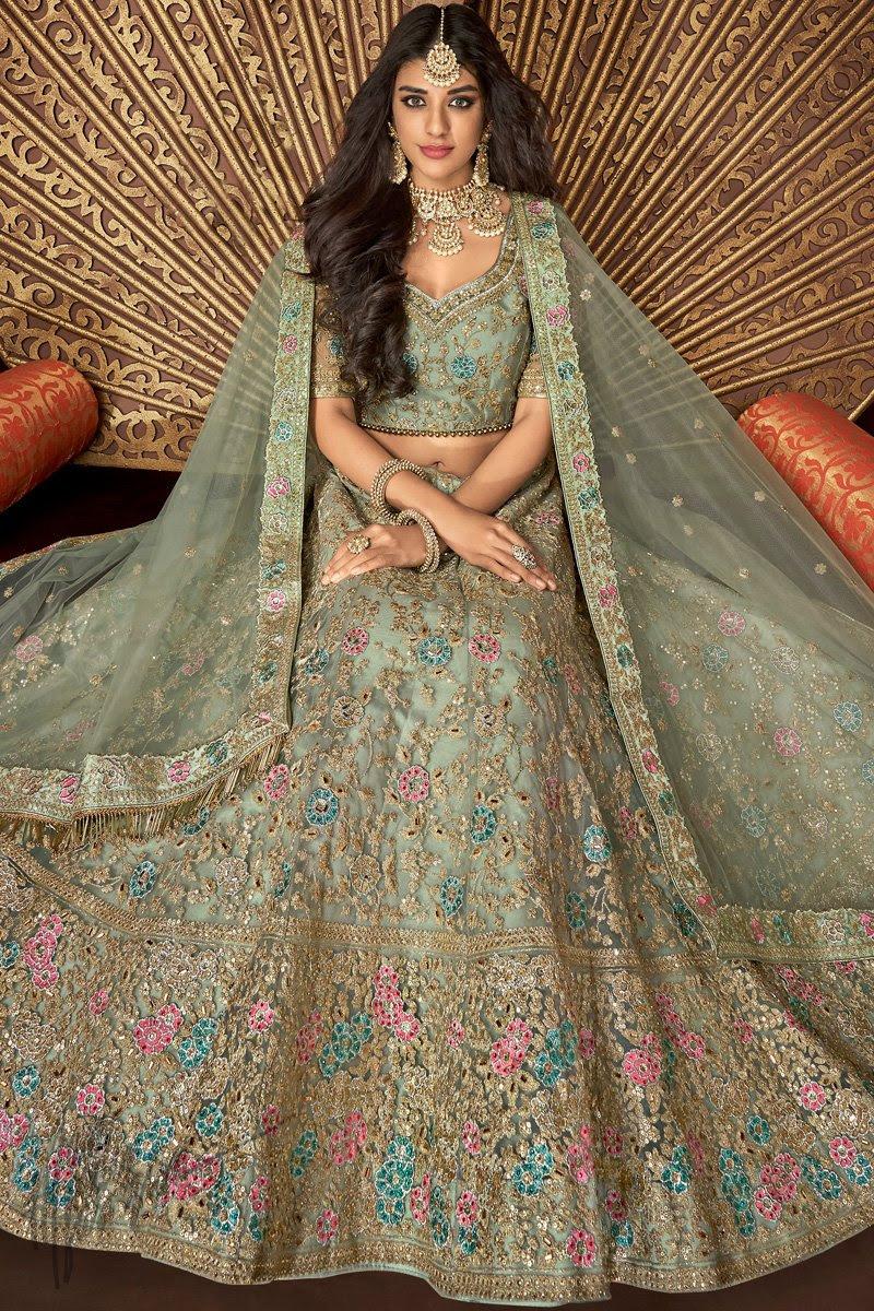 Sage Green Net and Silk Wedding Lehenga Set