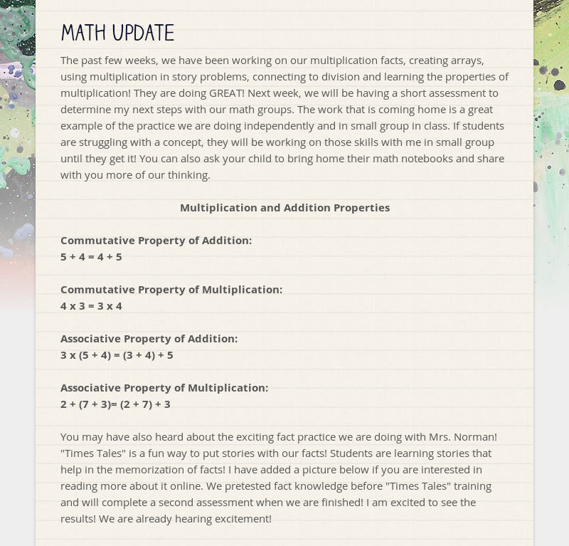 Math Update The past few weeks, we have been working on our multiplication facts, creating arrays,...