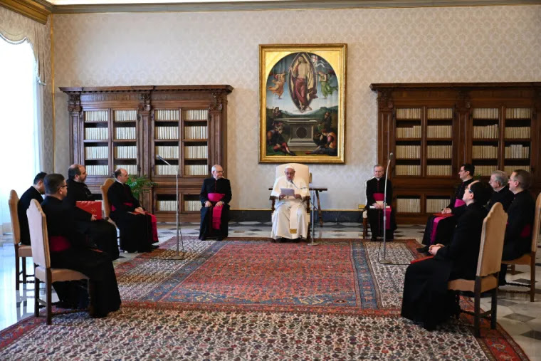 Pope Francis delivers his general audience address in the library of the Apostolic Palace Jan. 20, 2021. Credit: Pablo Esparza/CNA.