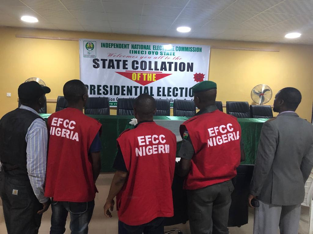 Operatives of the EFCC at the Oyo State Collation Centre, in Ibadan