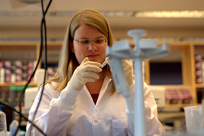 Lab Manager Naomi Sengamalay oversees all sample extraction, library construction and sequencing activities at the UMD Genomics Research Center