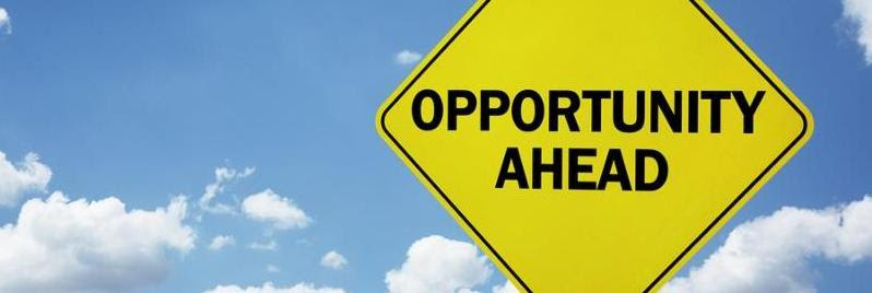 Opportunity ahead road sign concept for business development_ progress_ choice and direction or employment issues