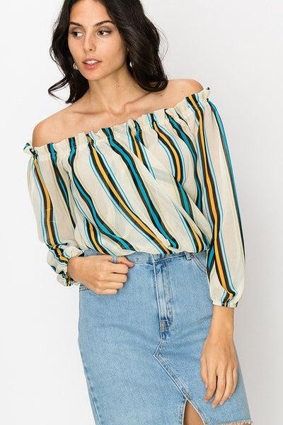 Multi stripe off the shoulder ruffle trim blouse