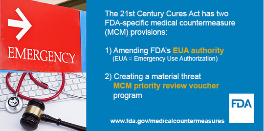 The Cures Act has two FDA-specific MCM provisions