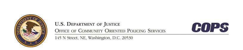 Letterhead: Office of Community Oriented Policing Services (COPS Office), U.S. Department of Justice