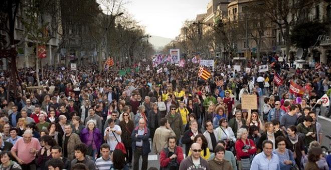 La manifestación en Barcelona de la huelga general del 29-M del 2012. EFE