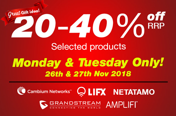 20-40% off RRP Monday and Tuesday Only - Selected Products
