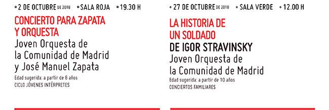 2 Octubre 19:30 Concierto para Zapata y Orquesta // 27 Octubre 12:00 h. La Historia de un soldado.