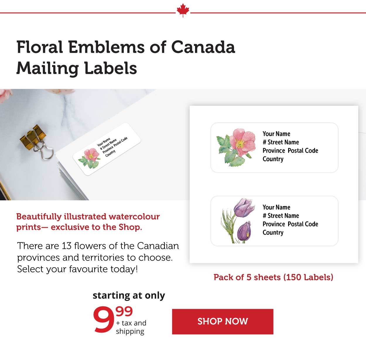 Floral Emblems of Canada- mailing Labels