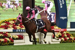 Beauty Generation and jockey Zac Purton win the Hong Kong Mile at Sha Tin Racecourse