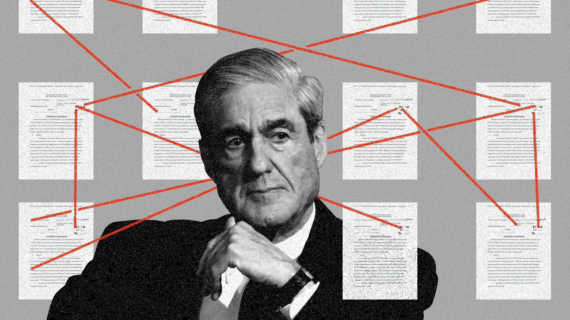 Robert Mueller surrounded by interconnected documents
