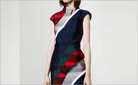 Сложное платье в полоску