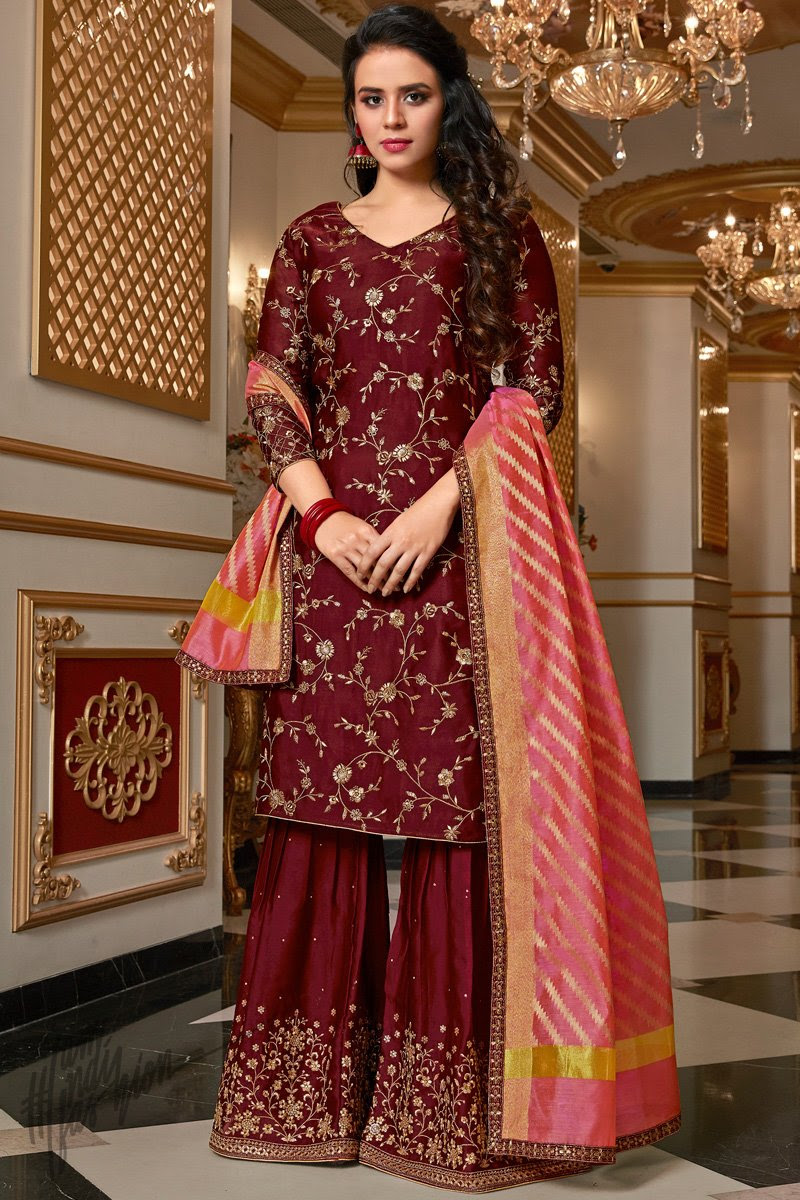 Wine and Pink Satin Georgette Sharara Suit