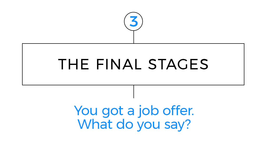 3. The final stages You got a job offer. What do you say? Say thank you, but don't immediately accept.