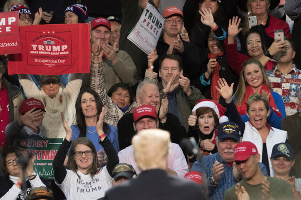 President Trump at a campaign-style rally this month in Pensacola, Fla. He knows his audience, and he almost always returns to the theme of being the guardian of the working class.