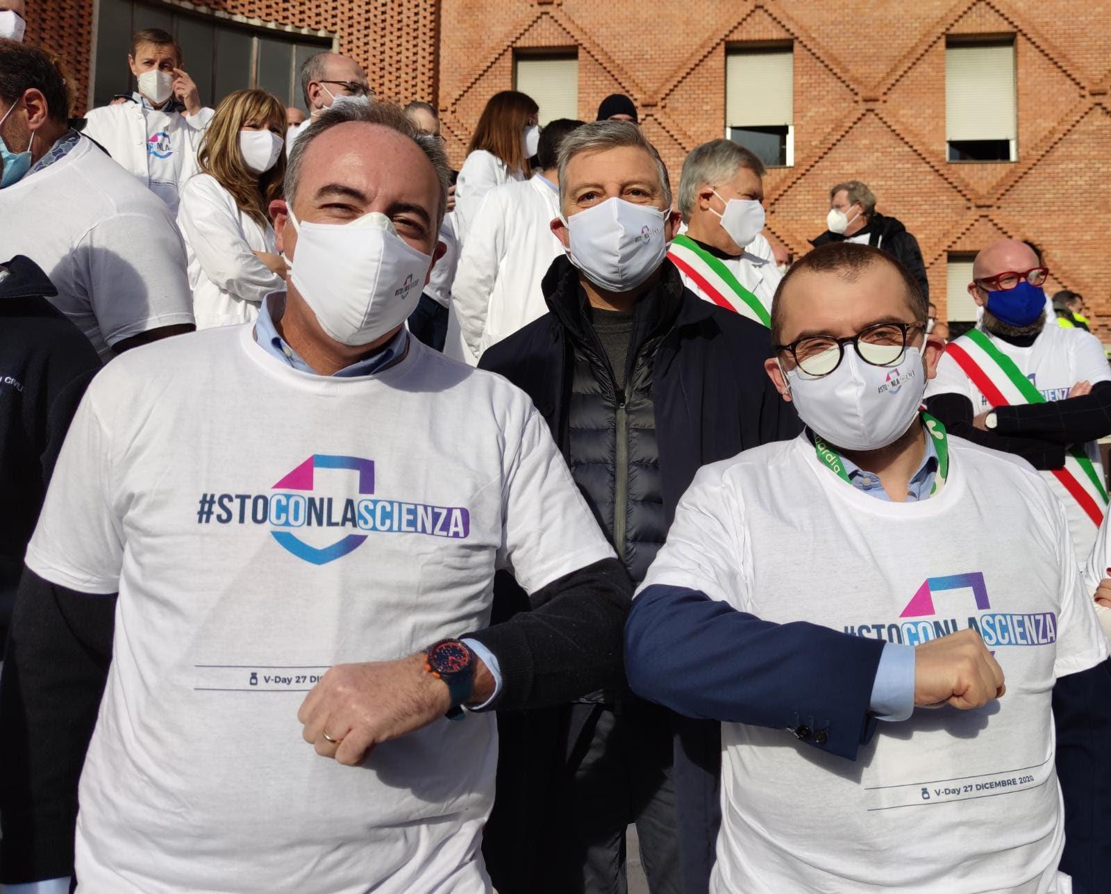 Vaccination day Brescia, gli assessori regionali Fabio Rolfi e Giulio Gallera agli Spedali Civili