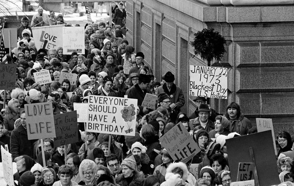 Protests in St. Paul against the Supreme Court's Roe v. Wade decision on Jan. 22, 1973.