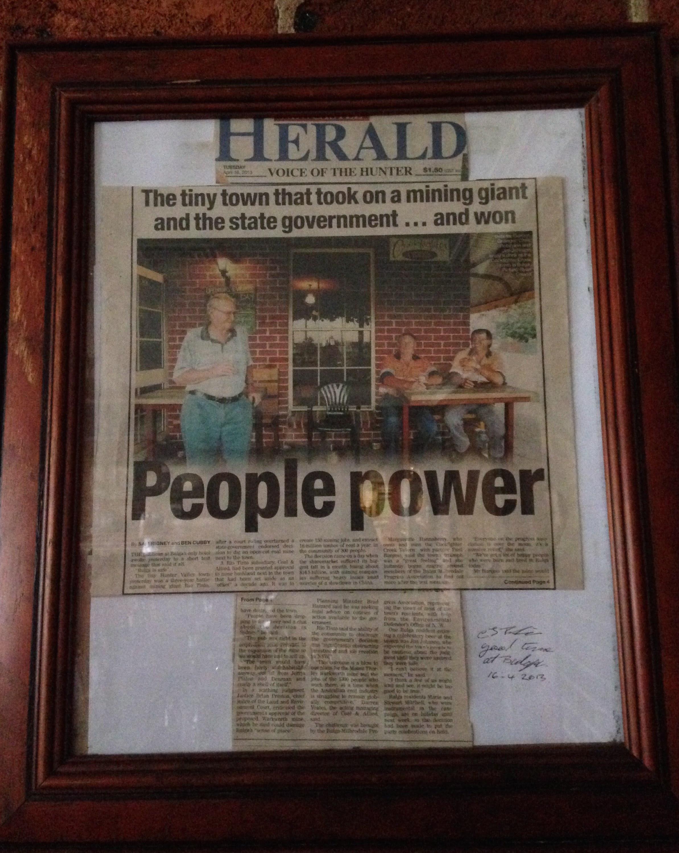 Newspaper in Bulga's local pub