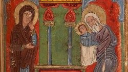 Representación de Ana y Simeón que acogen a Jesús en el templo.