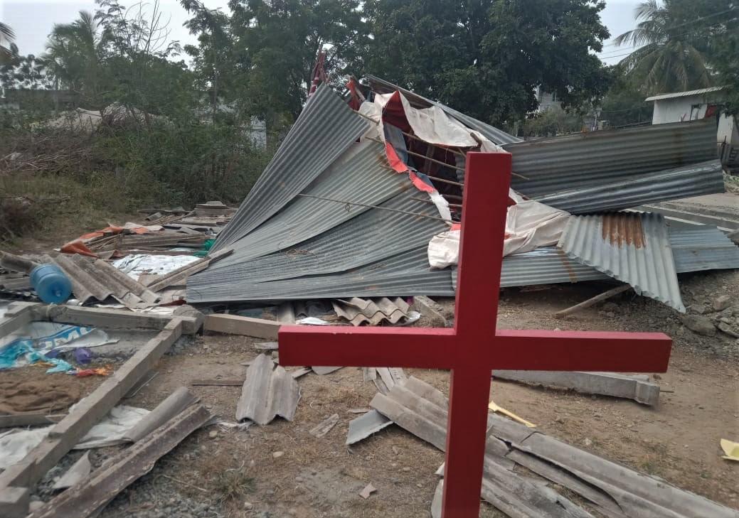 Church building demolished on Jan. 9, 2019 in Narnepadu village, Guntur District, Andhra Pradesh state, India. (Morning Star News)